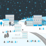 04 City winter landscape. Vector illustration of abstract winter city landscape Stock Illustration