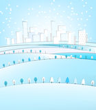 03 City winter landscape. Vector illustration of abstract winter city landscape royalty free illustration
