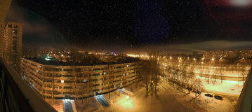 City winter night view of city sleeping areas. At dark Stock Images