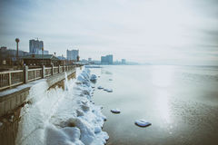 The city of winter sea Stock Images