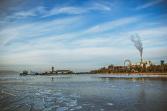 The city of winter sea Royalty Free Stock Image