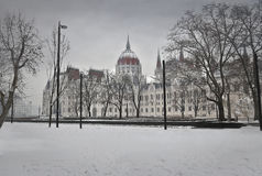 City in winter with snow Stock Images