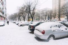 City winter snowfall Stock Photo