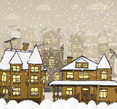 City in the winter royalty free illustration