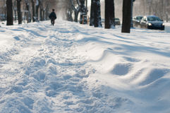 City winter walkway Royalty Free Stock Image