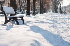 City winter walkway Royalty Free Stock Photography