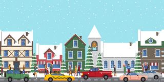 City at Wintertime Poster on Vector Illustration. City at wintertime poster, buildings and homes, people that are busy and hurry somewhere, taxi and cars driving Stock Image