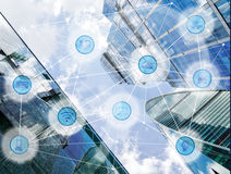 City and wireless communication network. Modern city and wireless communication network, IoT Internet of Things and ICT Information Communication Technology royalty free stock photos