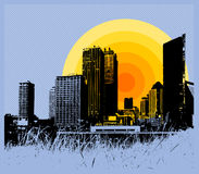 Free City With Sunset. Vector. Royalty Free Stock Photos - 2916408