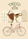 City woman cyclist  Tweed Run illustration Stock Photo