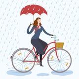 City woman cyclist under the rain vector illustration Royalty Free Stock Photos