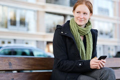 City Woman with a Smartphone Stock Photo