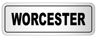Worcester City Nameplate. The city of Worcester nameplate on a white background stock illustration