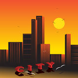 City. The word the city and a beautiful city landscape against the sky and birds Royalty Free Stock Image