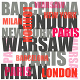 City words poster. Poster with city names, warsaw, barcelona, milan, new york Royalty Free Stock Photography