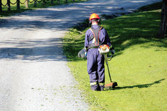 City Worker Trims Grass Stock Image