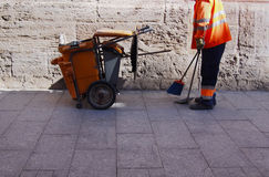 City workers - cleaning and washing of city streets Stock Images