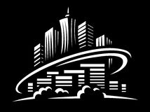 City world - vector illustration on black background Stock Photo