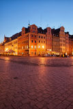 City of Wroclaw Old Town Market Square at Night Stock Photos