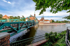 The city of Wroclaw is a view of the island of Tumsk on which the castles of lovers Royalty Free Stock Images