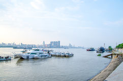 City of Wuhan, China. Wuhan, China three town District view from Yangtze river bridge high place in city of Wuhan, China royalty free stock photography