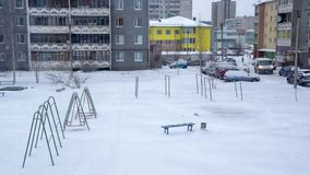 City yard in winter time timelapse stock footage