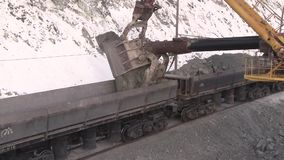 City of Yasny, Orenburg region, Russia, Quarry for the extraction of chrysotile asbestos, 02/10/2018. Work of machinery and machines in the quarry for extraction stock video
