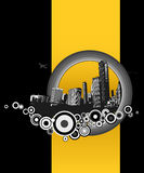 City with yellow stripe. Vector Stock Photos