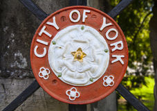 City of York Crest. A metal plaque of the crest of the City of York, England Royalty Free Stock Photo