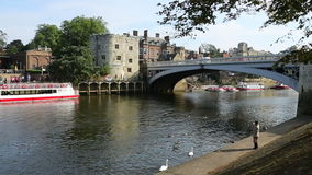 City of York - England. The River Ouse and Lendal Bridge in the city of York in the county of Yorkshire in northeast England stock video footage