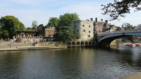 City of York - England. The River Ouse and Lendal Bridge in the city of York in the county of Yorkshire in northeast England stock footage