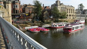 City of York - England. View of the River Ouse from Lendal Bridge in the city of York in the county of Yorkshire in northeast England stock video footage