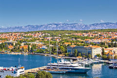 City of Zadar harbor and Velebit mountain Royalty Free Stock Photos