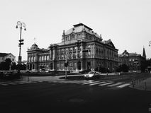 In the city. Zagreb city black and white Royalty Free Stock Image