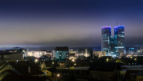 City of Zagreb. Night shot of skyscraper in Zagreb - Croatia Stock Photography