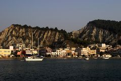 The City Of Zakynthos. Seen from offshore early in the morning at first sunlight stock images