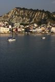 The City Of Zakynthos. Seen from offshore early in the morning at first sunlight stock photos