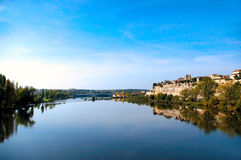 The city of Zamora from the stone bridge over the river Duero. Castile and Leon. Spain Royalty Free Stock Photos