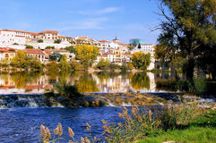 The city of Zamora from the stone bridge over the river Duero. Castile and Leon. Spain Stock Images