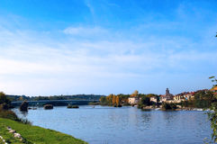 The city of Zamora from the stone bridge over the river Duero. Castile and Leon. Spain. Europe royalty free stock photos