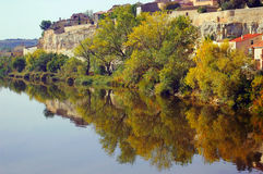 The city of Zamora from the stone bridge over the river Duero. Castile and Leon. Spain Royalty Free Stock Photography