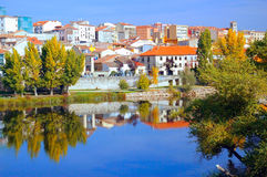 The city of Zamora from the stone bridge over the river Duero. Castile and Leon. Spain Stock Photography
