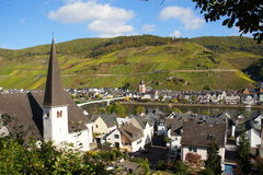 City Zell on the Moselle. With village Kaimt Stock Photography