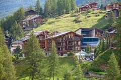City Zermatt. Famous swiss city Zermatt in the valley near the swiss-italian border center of alpine sports stock photography