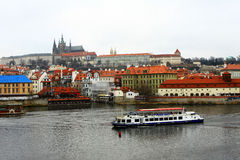 City of Zlata Praha. City of Prague, ship, river, old city bridge, attractions Culture Royalty Free Stock Image