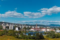 City Zlatoust. Russia. City, Chelyabinsk region, Zlatoust. The view from the tower. Summer Royalty Free Stock Photography