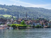 City of Zug Switzerland in the summer. Photo of the city of Zug in Switzerland. Taken from across the lake of Zug Stock Image