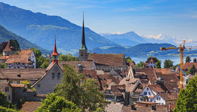 City of Zug in Switzerland. View of the city of Zug in Switzerland in summertime Stock Image