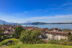 City of Zug in Switzerland. View of the city of Zug in Switzerland in summertime Royalty Free Stock Photo