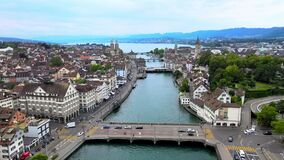 The city of Zurich in Switzerland from above